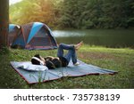 holiday camping   young boy... | Shutterstock . vector #735738139
