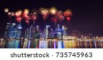beautiful firework over central ... | Shutterstock . vector #735745963