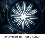 close up of rim  new car alloy... | Shutterstock . vector #735746524