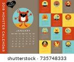 colorful 2018 calendar...   Shutterstock .eps vector #735748333
