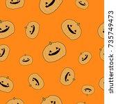 halloween seamless pattern.... | Shutterstock .eps vector #735749473