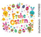 frohe ostern   happy easter in... | Shutterstock .eps vector #735749800