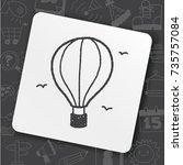 doodle hot air balloon | Shutterstock .eps vector #735757084