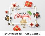 merry christmas background.... | Shutterstock .eps vector #735763858