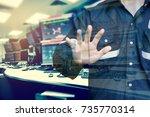 double exposure of engineer or...   Shutterstock . vector #735770314