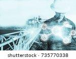 double exposure of engineer or... | Shutterstock . vector #735770338