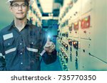 double exposure of  engineer or ... | Shutterstock . vector #735770350