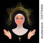 beautiful young catholic nun... | Shutterstock .eps vector #735770404