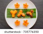 ancient thai dessert  thai...   Shutterstock . vector #735776350
