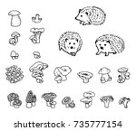 mushrooms and hedgehog hand... | Shutterstock .eps vector #735777154