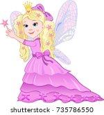 cute girl in a purple dress... | Shutterstock . vector #735786550