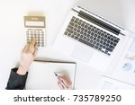 top view of business financier... | Shutterstock . vector #735789250