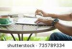 woman creative business using...   Shutterstock . vector #735789334