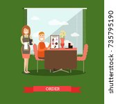 vector illustration of waitress ... | Shutterstock .eps vector #735795190