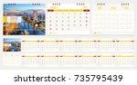 calendar 2018 week start on... | Shutterstock .eps vector #735795439