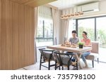 young asian couples eating... | Shutterstock . vector #735798100