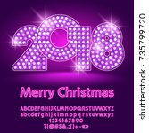vector light up disco merry... | Shutterstock .eps vector #735799720