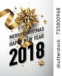 2018 happy new year vector... | Shutterstock .eps vector #735800968