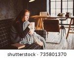 young sick woman healing with... | Shutterstock . vector #735801370
