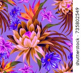 vector tropical pattern with... | Shutterstock .eps vector #735802549
