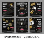 set of vector christmas new... | Shutterstock .eps vector #735802573