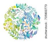 watercolor beautiful floral... | Shutterstock . vector #735803773