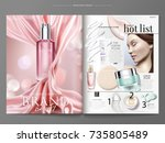 cosmetic magazine template ... | Shutterstock .eps vector #735805489
