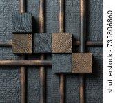 abstract dark wood block... | Shutterstock . vector #735806860