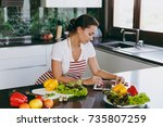 the young happy woman in apron... | Shutterstock . vector #735807259