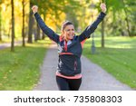 happy fit middle aged woman... | Shutterstock . vector #735808303