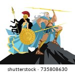 athena and zeus on mount olympus | Shutterstock .eps vector #735808630