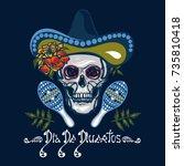 dia de muertos. poster with... | Shutterstock .eps vector #735810418