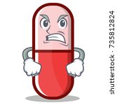 angry pill capsule cartoon... | Shutterstock .eps vector #735812824