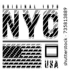 new york typography and flag...   Shutterstock .eps vector #735813889