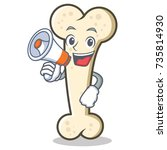 with megapahone bone character... | Shutterstock .eps vector #735814930
