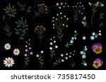 embroidery flower field herb... | Shutterstock .eps vector #735817450