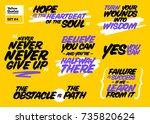 vector set of short positive... | Shutterstock .eps vector #735820624