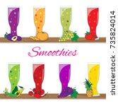 cartoon smoothies. flat design. ... | Shutterstock .eps vector #735824014