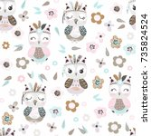 seamless pattern with cute... | Shutterstock .eps vector #735824524
