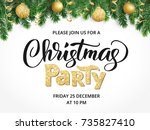 christmas party poster template.... | Shutterstock .eps vector #735827410