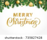 merry christmas hand written... | Shutterstock .eps vector #735827428