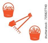 illustration of harvest  shovel ... | Shutterstock .eps vector #735827740