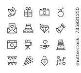 wedding icon set.  | Shutterstock .eps vector #735831250
