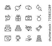 wedding icon set. | Shutterstock .eps vector #735831289