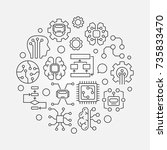 artificial intelligence round... | Shutterstock .eps vector #735833470