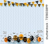 halloween background with... | Shutterstock .eps vector #735833899
