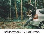 nature for life  woman traveler ... | Shutterstock . vector #735833956