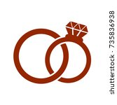 vector  wedding rings icon on... | Shutterstock .eps vector #735836938