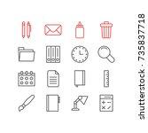 vector illustration of 16 tools ... | Shutterstock .eps vector #735837718