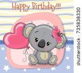 greeting card cute koala girl...   Shutterstock .eps vector #735838330